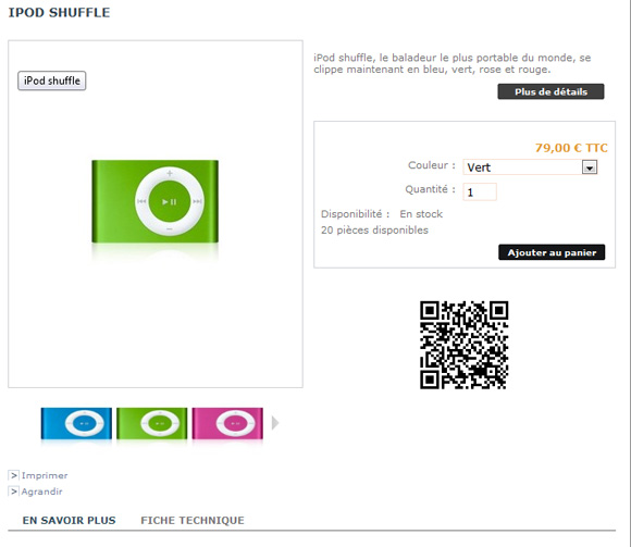 Bloc QR Code URL prestashop