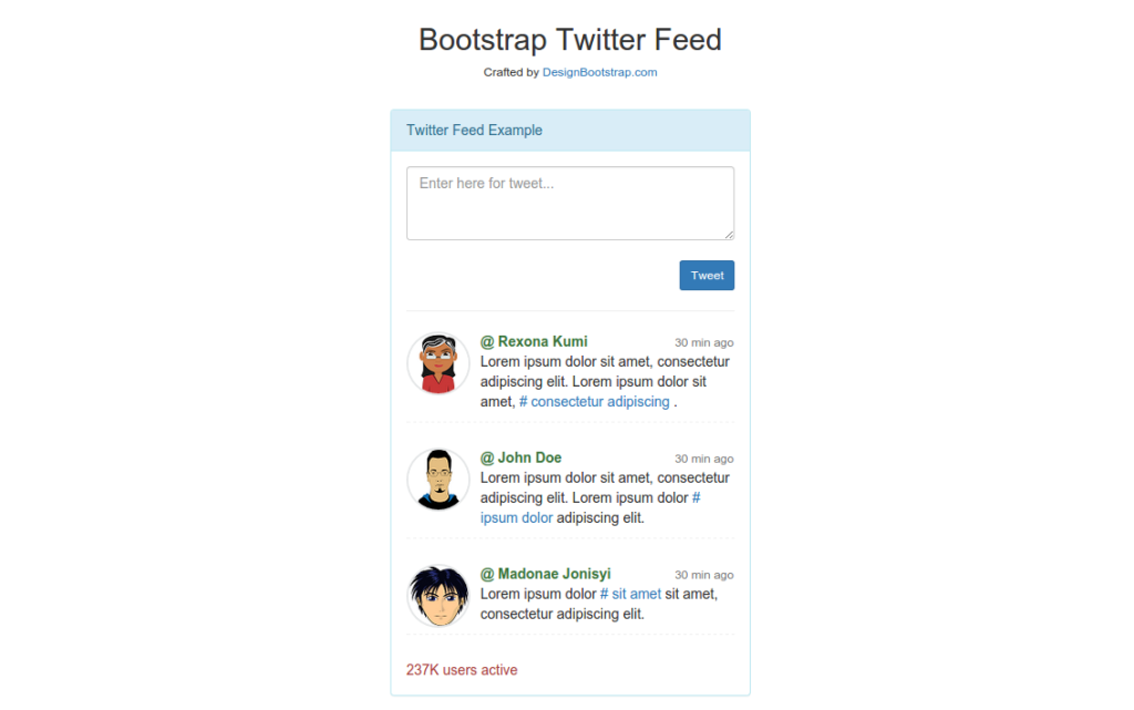 Bootstrap template twitter