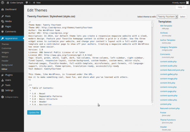 Wordpress Theme Editor CSS file